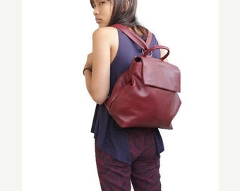 ON SALE Leather backpack in bordeaux , Leather backpack women , rucksack backpack , Leather backpack purse
