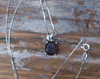 vintage sterling silver and smoky quartz pendant and chain