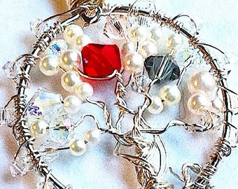 CUSTOM Tree Of Life Pendants Birthstone Mother Family Gemstone