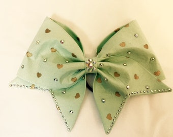 Mint green hand sewn bow with metallic gold hearts and AB Crystals