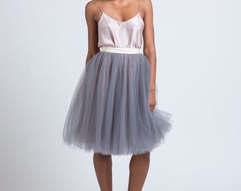 Grey Sequined tulle skirt