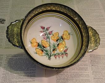 Vintage Quimper Bowl - Hand Decorated Folk Art Pottery Bowl - Henriot Quimper Faience Ironstone Cafe au Lait Bol - Tole Painted