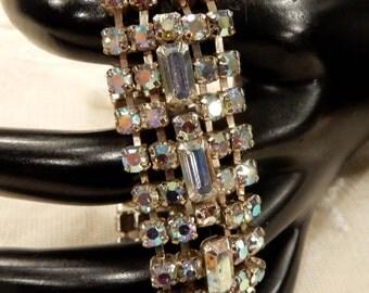 Pretty Vintage AB Rhinestone  and Baguette Bracelet