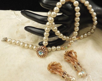 Vintage Strand of Faux Pearls and AB Crystals and Earrings
