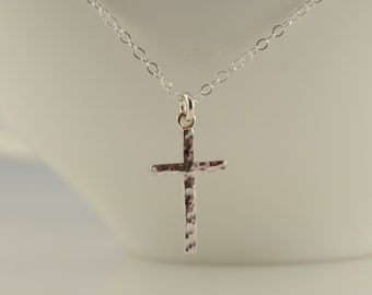 Small cross necklace. Hammered cross necklace. Simple cross necklace. layering necklace