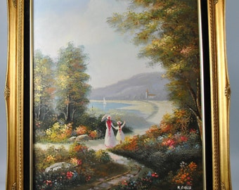 Sunday Afternoon Oil Painting on Canvas Signed H. Baker