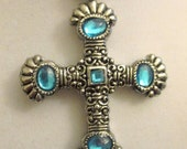 Fabulous Silver Chain And Cross Statement Necklace With Gorgeous Encrusted Light Blue Crystals