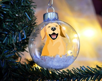 Yellow Lab Labrador Retriever Christmas Ornament personalized memorial floated paper glass bulb dog gift