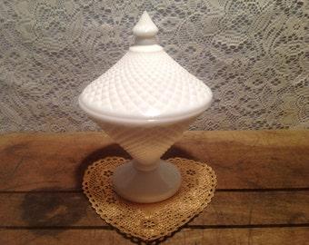 Vintage White Milkglass WestMoreland Pedestal Candy Dish