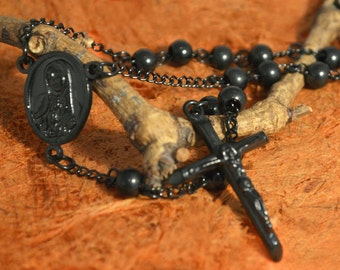 Black Bead Rosary-Religious Gift-Free Shipping.
