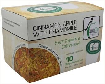 Cinnamon Apple with Chamomile, Herbal Tea, Single Serve Cups (Pack of 10)