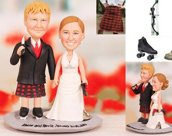 Personalised wedding cake topper - Bow Hunting and Roller Skate Theme Scottish Wedding Cake Toppers (Free shipping)