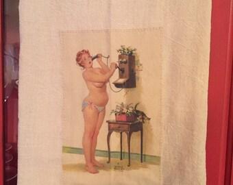 Telephone Hilda pinup floursack tea towel