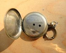 Antique Steampunk art ready Swiss made Pocket Watch Silver Tone Body Case / Assemblage Industrial art steampunk supply / Watch parts  Pw63c