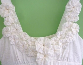 White Flowered Tank, Size M