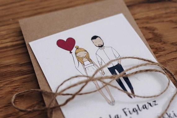 Illustrated Wedding Invitations: Custom Illustrated Couple Quirky Wedding Invitations