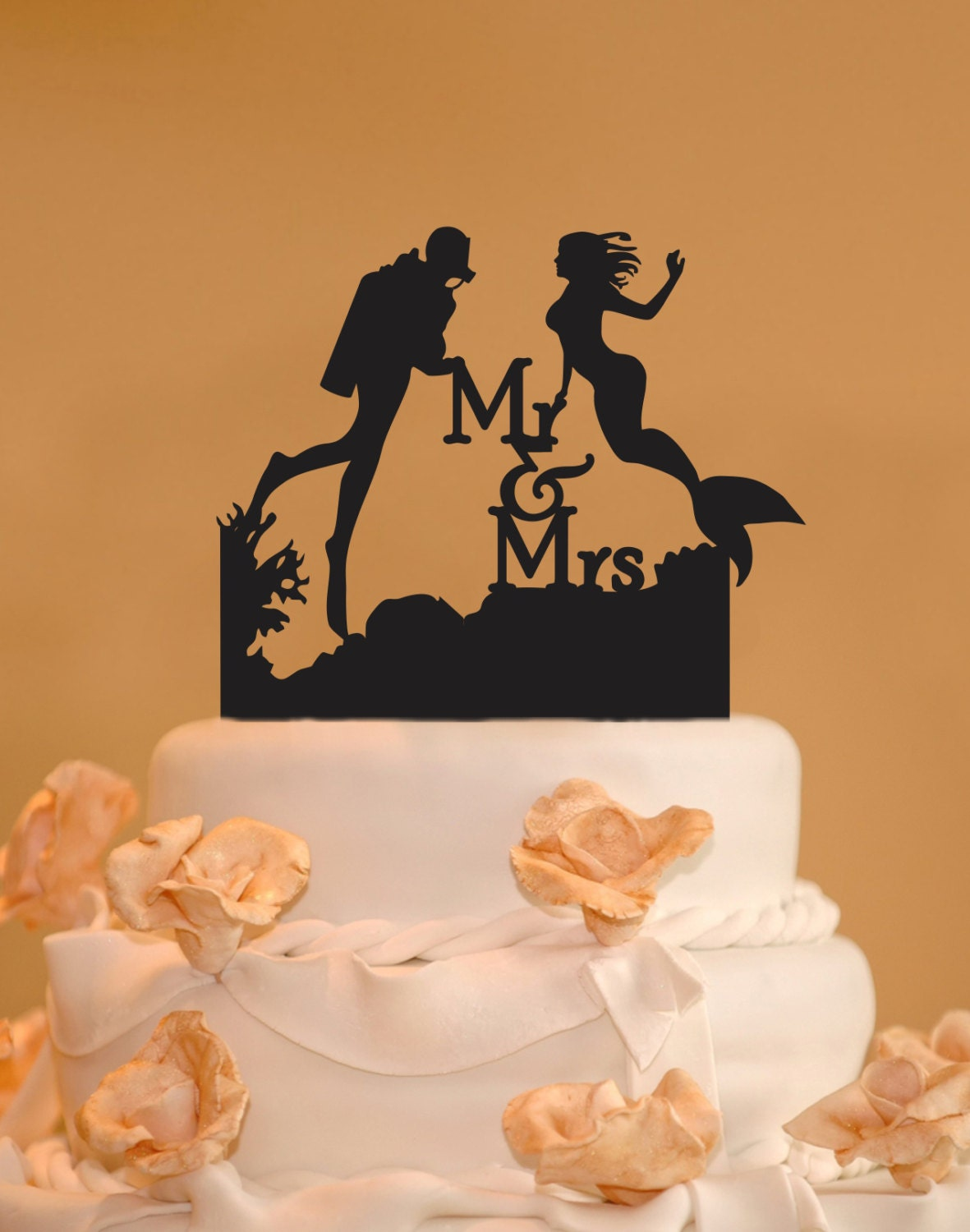 Description This Scuba Diver And Mermaid With Mr Mrs Wedding Cake Topper