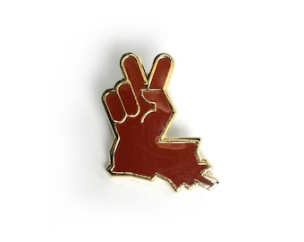 Louisiana Peace Hand Lapel Pin Red