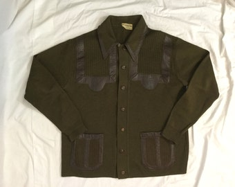 Vintage 1960's Men's Olive Green Cardigan with Brown Leather Detail