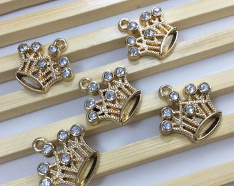 10 PCs   Rhinestone  Crown Pendants   Crown Charms   Crown Jewelry, Findings   Gold plating