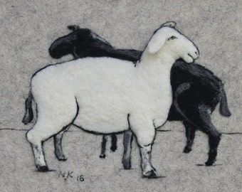 """Felted Wall Hanging """"White and Black sheep"""", Home and Living, Home decor,handmade, needlefelted, fiber art, felt wall art,ready to ship"""