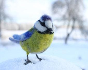 Needle Felted Bird,Blue Tit,Wild Bird