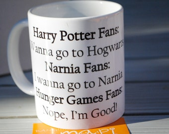 Harry Potter Narnia Hunger Games Fans Mockingjay mug cup funny mug