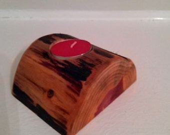 Rustic Cedar Log Candle Holder
