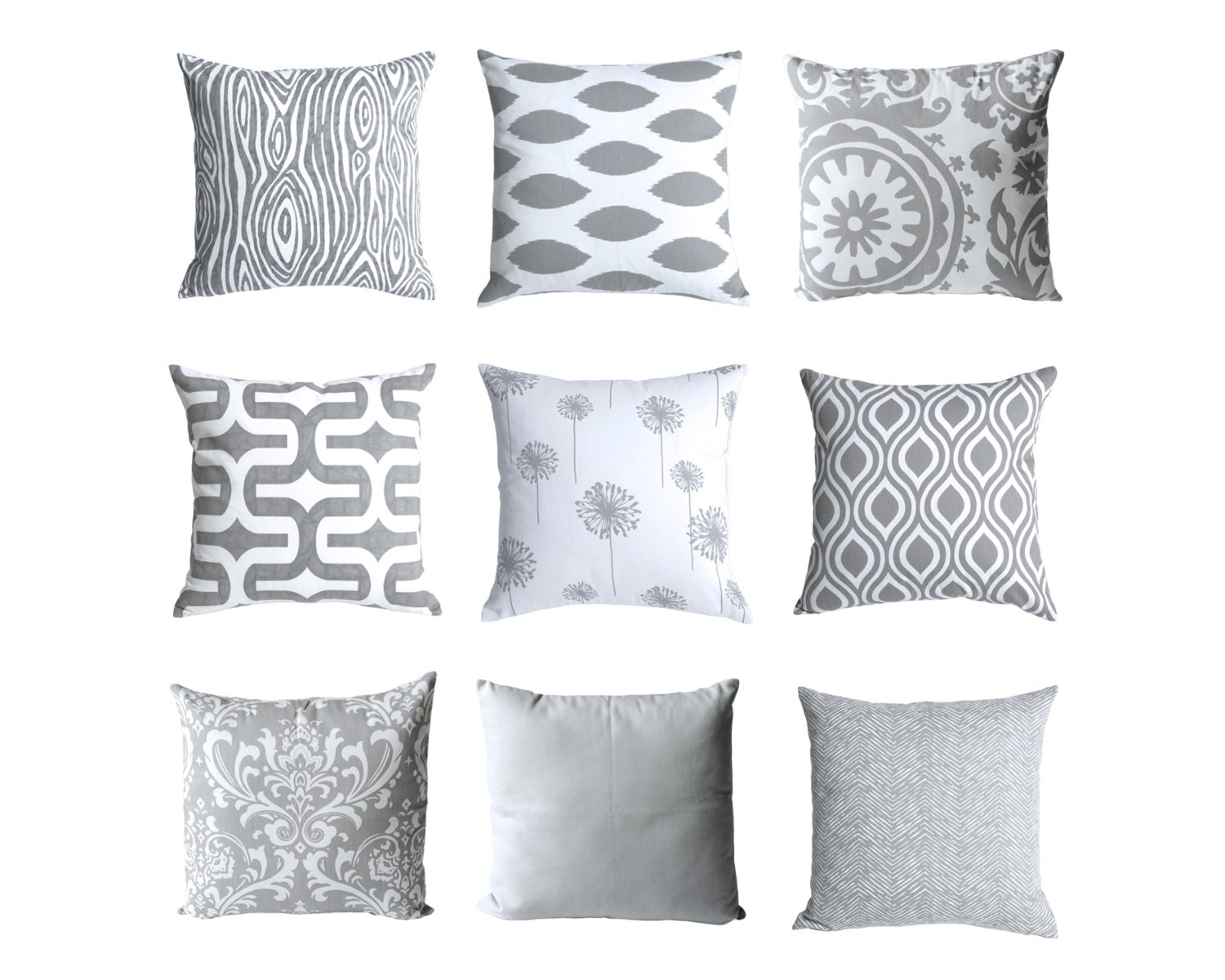 Decorative Pillow Covers With Zippers : One Grey Decorative Throw Zipper Pillow Covers 18x18 by Pillomatic
