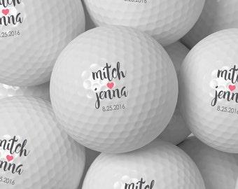 Custom Golf Ball Wedding Favor, Personalized Golf Balls Bulk Pricing 50 100 200 250 300 - Design 62