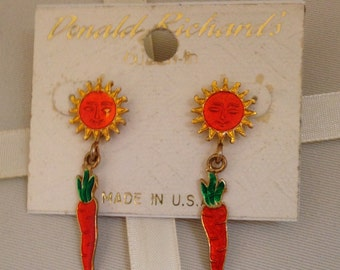 Vintage Donald Richard's Sun And Carrot Dangle Fashion Earrings