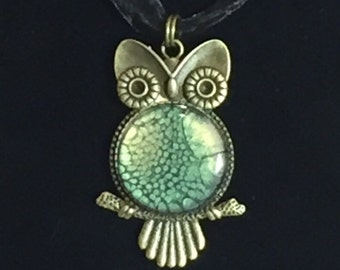 Green & Gold Owl Pendant