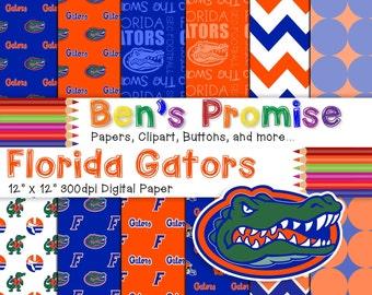 Florida Gators Digital Paper Pack: 12x12 Digital Paper at 300 dpi