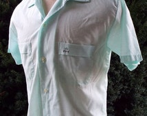 50% OFF Summer Sale Vintage Short Sleeve Button Down Shirt by Le Chevron