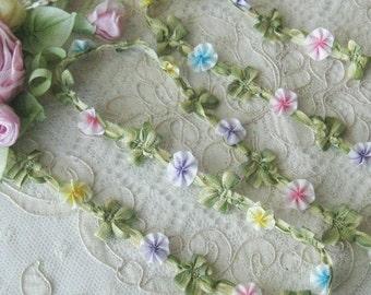 Mokuba Ombre Rococo Floral Trim - Pastel Colors- Crafts, Sewing, Dolls, Teddy Bears, Ribbonwork Embellishments - 1/2 Yd.