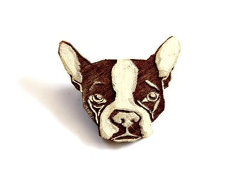 Boston Terrier Brooch, Boston Terrier Pin, Wooden Boston Terrier pin, Dog Brooch, Dog Pin
