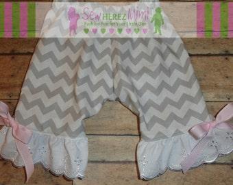 Newborn Pants Gray White Chevron Pink Ribbon Eyelet Lace Ruffle
