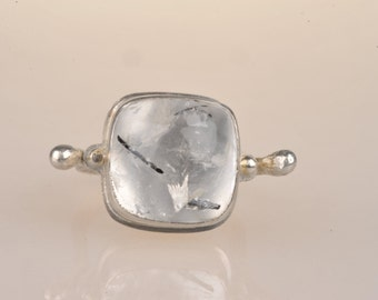 Roman inspired tourmalinated quartz ring with silver granulation