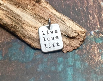 Weight Lifting Jewelry Motivational Live Love Lift Charm for Necklace or Bracelet. Great Gift for Strength Training Competition Jewelry