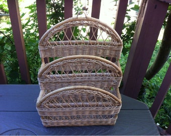 Mid Century Wall Hanging Wicker Mail Letter Holder Organizer