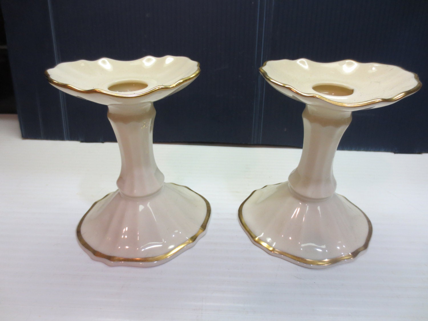 Lenox candlestick holders hand painted with
