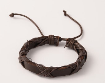 Leather Bracelet, brown Leather Bracelet, Unisex Leather Bracelet, Multi strand leather bracelet
