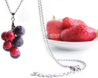 Blueberry Necklace, Blueberry jewelry,Berry Necklace, Silver Charm Necklaces,Fruit necklaces,Red Pendant,summer necklaces