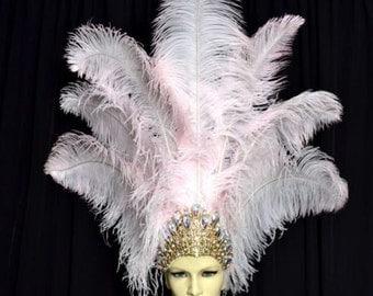 Ostrich Feather Headdress Showgirl Samba Carnival . MADE IN USA