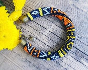 Patchwork bead crochet bracelet Colorful Beadwork bracelet Ethnic geometric bracelet Summer bracelet Statement Beaded bracelets boho bangle