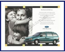 "FORD WINDSTAR MINIVAN Original 1996 Vintage Color Print Advertisement - ""Is This How You Feel About Your Kids? The Feeling Is Mutual."""
