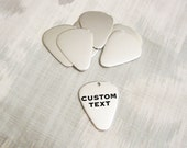 "Custom Silver Guitar Pick - 31mm (1-1/4"") - Hand Stamped Jewelry Tag - BULK PRICING AVAILABLE"