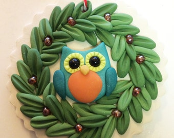 Owl Christmas ornie by Raquel at the WRC owl hand sculpted polymer clay Collector OWL ORNAMENT