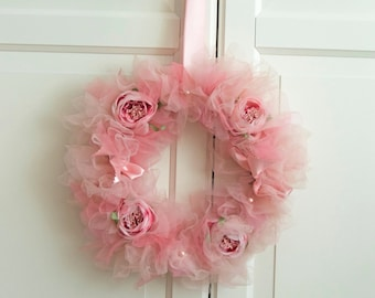 Custom Colors Tulle Wreath with peonies, ribbons and pearls. Tutu wreath. Shaby Chic  Wreath