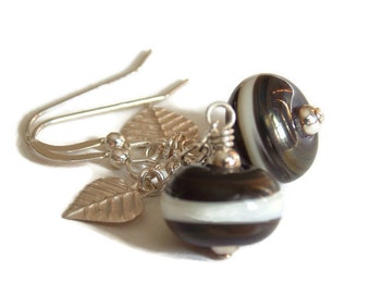 Black White Lampwork Earrings. Trendy Dangle Earrings. Handmade Earrings. Leaf Earrings